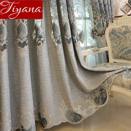 Discount luxury blinds curtains - Chenille Embroidered Curtains Hollow Soluble for Living Room Luxury Bedroom Window Treatment Blackout Blind M029#30
