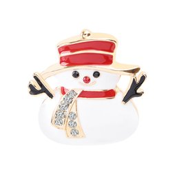 Custom Wedding Hats Australia - Cute Smile Snowman Red Hat Winter Theme Brooch Pin Alloy Can Be Customized Custom Brooch To Children's Friends Gift