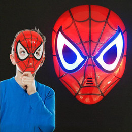 wholesale plastic figures Australia - LED Glowing Lighting Mask Spiderman Captain America Hero Figure Party Mask Halloween Cosplay Costume Accessory 9 Colors kids toys