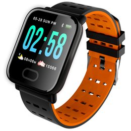 Q8 Smart Watch Australia - Slimy A6 Smart Watch with Heart Rate Monitor Fitness Tracker Blood Pressure Smartwatch Waterproof For Android IOS PK Q8 V6 S9