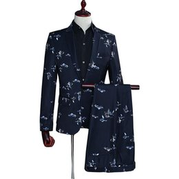 $enCountryForm.capitalKeyWord UK - Bird Print suits For Men 2019 Summer Autumn Long sleeve men blazer with pant 2 pcs Party Wedding dress Suit Casual costume homme