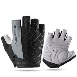 Bicycle Road Cycling Gloves Australia - ROCKBROS Cycling Bike Half Short Finger Gloves Shockproof Breathable MTB Road Bicycle Gloves Men Women Sports Cycling Equipment