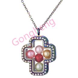 $enCountryForm.capitalKeyWord Australia - C1392 Rainbow Cross Jesus Pearl Beads Cage With Rhinestone Magnetic Glass Floating Locket Pendants Women Charms Necklace