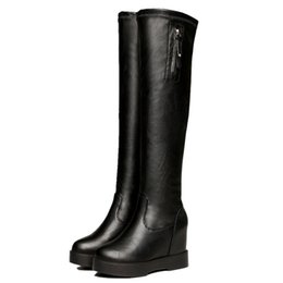 d7771c15825c Keep Warm Elastic Force Boots 2018 Autumn And Winter Thin Boots Woman Thick  Bottom Muffin Within Increase Overknee