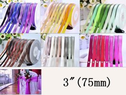 """Face Chairs Australia - 3"""" (75mm) Double face Satin Ribbon for Wedding Chair Decoration Wedding Party Supplies 196 Color for Choose"""