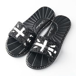 Crystal Diamond Fabrics Australia - Women Shoes Slippers Womens Flat Sliders Sandals Diamante Sparkly Colorful Diamond Crystal fashion new shoes woman
