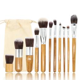 Discount kabuki makeup tools - 11pcs Natural Bamboo Makeup Brushes with Bag Professional Cosmetics Eyeliner Brush Kit Soft Kabuki Foundation Blending T