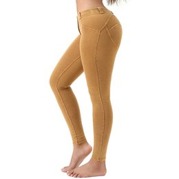 Leggings jeans woman online shopping - Women Yoga Pants Ladies Solid Sexy Casual Jeans High Elastic Sports Fitness Leggings Top Quality Women Gym Running Tights