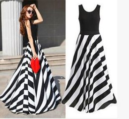 summer sex dresses Australia - New European and American summer stripe puts beach skirt greatly fashionable sex appeal long skirt of tall waist vest dress formal attire sk