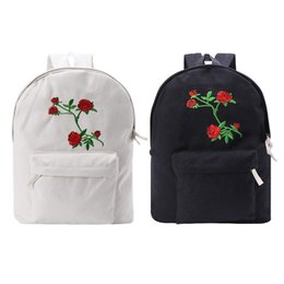 $enCountryForm.capitalKeyWord UK - 32 x 13 x 44cm Flower Rose Embroidered Canvas Backpack for Women School Bookbag Casual Daypack