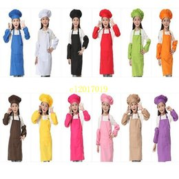 $enCountryForm.capitalKeyWord Australia - 20sets  lot 3pcs set Children Kitchen 12 Colors Kids Aprons with Oversleeve & Chef Hats for Painting Cooking Baking