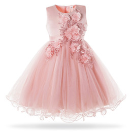 Formal Military Ball Gowns Australia - wholesale Pink White Flower Girl Wedding Dress Kids Formal Party Ball Gown Frock For 3-10 Year Children Birthday Princess