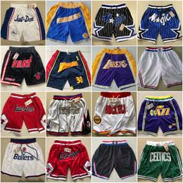 Vente en gros 2019 pas cher Just Don Shorts Chicago Golden 1State Bulls Miami Orlando Philadelphie Utah 76ers Washington Los Angeles Bullets maillot de basket