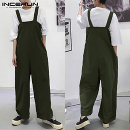 80d7b60cc INCERUN 2019 Men Romper Straps Solid Color Korean Style Suspenders  Streetwear Casual Pants Loose Men Overalls Wide Leg Jumpsuits