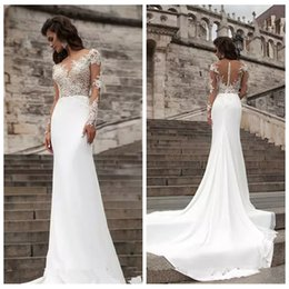 Discount simple wedding dress slim sleeves 2019 Sexy Sheer Long Sleeves Lace Appliques Slim Mermaid Wedding Dresses Sexy Bridal Gowns Spring Chiffon Vestidos De Ma