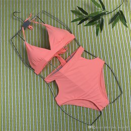 $enCountryForm.capitalKeyWord Australia - New nylon fabric much Popular Multi-color high waist slim Sexy ladies split swimsuit solid color women swimwear Europe and America bikini