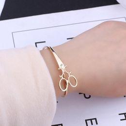 Charm braCelets sCissors online shopping - Fashion Scissors Bracelets For Women Men Simple Gold Silver Black Shears Opening Bangles Charm Scissors Hair Stylist Jewelry