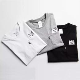 Black Cat Tee Australia - RipNDip Lord Nermal Pocket Tee Shirts Men Cat Graphic Print Funny T shirts White Black Grey Short Sleeve Cotton Tee Streetwear Men YBF0914