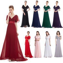 $enCountryForm.capitalKeyWord Australia - Cheap Ever Pretty Glamorous Double V-Neck Ruffles Long Chiffon Evening Bridesmaid Dress Long Floor Bridesmaid Dresses