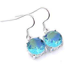 $enCountryForm.capitalKeyWord Australia - Luckyshine Christmas Day 6 pieces lot 925 silver plated Unique charm Bi-Color Tourmaline Earrings for Lady party gift