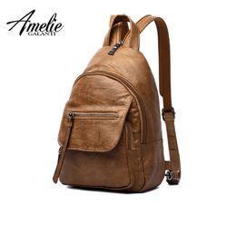 amelie bag 2019 - AMELIE GALANTI Luxury Leather Women Backpack Travel Mini Backpack Mochilas School Bags Women Shoulder Bag Fashion Lady d
