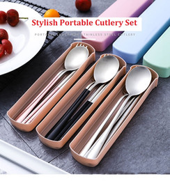 cutlery stainless steel box Australia - 3Pcs set Dinnerware Set 304 Stainless Steel Multicolor Cutlery Set fork spoon chopsticks gift box student convenient set bag travel outdoor