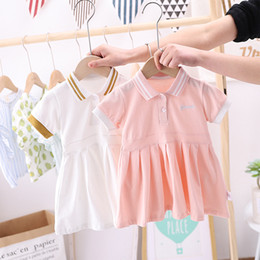 embroidered short white dress UK - Summer Girls short sleeve dress preppy style children letter embroidered stripe lapel pleated dress kids cotton polo dress A3123