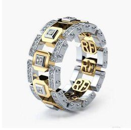 Gold Finger Ring Tone Australia - Hip Hop Silver & Gold Mixed Color Two Tone Crystal Male Wide Finger Ring Party Gift Fashion Design Modern Jewelry L4M071
