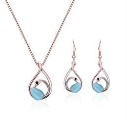$enCountryForm.capitalKeyWord NZ - HC Cute Opal Swan Drop Earrings Necklace Sets for Girl Kid Gifts Fashion Crystal Exquisite Children Cartoon Animal Jewelry Set F