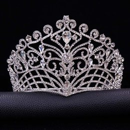 celtic crowns tiaras 2019 - 2019 New Big European Bride Wedding Tiara Crowns Silver Plated Austrian Crystal Large Queen Tiara Wedding Hair Accessori