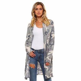 Discount camouflage print blouse - FEITONG Plus Size Women Autumn Cardigan 2017 Cotton Camouflage Printed Tops Long Sleeve Blouse Tunic Kimono Cardigans Co
