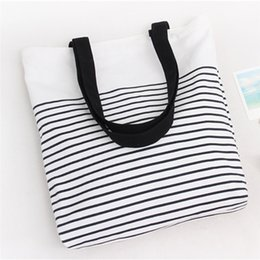$enCountryForm.capitalKeyWord Australia - Cotton Canvas Bag Korean Version Of The Shoulder Stripe Student Canvas Bag Zipper Reusable Shopping Handbag