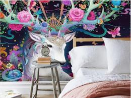 Beautiful peonies painting online shopping - 3d room wallpaper custom photo mural Modern beautiful hand painted dreamy elk flower peony mural background wall wallpaper for walls d