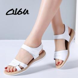 $enCountryForm.capitalKeyWord Australia - O16u 2018 Summer Sandals Shoes Women Flat Heel Genuine Leather Classic Casual Sandals T-strap Open Toe Beach Sandals Gladiator Y19070403