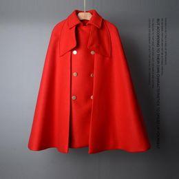 $enCountryForm.capitalKeyWord Australia - Runway Designer Cape Coat Women Nice Fall Winter High Quality Loose Woolen Overcoat Female Turn Down Collar Cloak Coat Outerwear