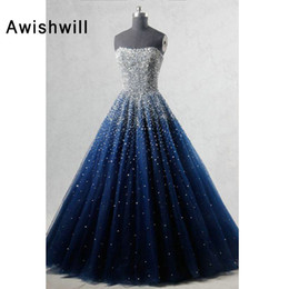 $enCountryForm.capitalKeyWord Australia - Real Photo A-line Strapless Sleeveless Elegant Evening Dress Beadings African Formal Dress In Navy Blue Women Long Prom Dresses Y19072901