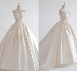 Strapless Satin Wedding Dresses Bridal Australia - Embroidered Lace Wedding Dresses Plus Size Strapless Lace-up Draped Satin Ball Gowns Bridal Party Dress For Bride Wedding Gowns Custom