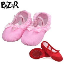 Discount flat bellies shoes Bazzery Ballet Dance Dancing Shoes Pointe For Children Lace Girls Women Soft Flats Shoes Breathable Slippers Size 26 to