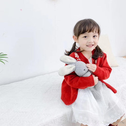 winter clothes for little girls 2020 - 2019 autumn kids fashion designer luxury clothes Little Red Riding Hood for girls clothes red flower sweater