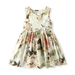 Floral Boutique Clothing NZ - Cute Girls Bow Floral Vest Dresses Summer 2019 Kids Boutique Clothing 1-7Y Little Girls Cotton Sleeveless Dresses Basic Style High Quality