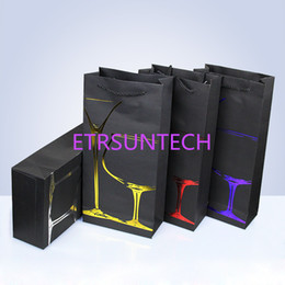 Gift boxes 17 online shopping - 100pcs Black Card double Wine Bag Wine Box Packing portable gift bag Paper gift bags cm Surface bronzing