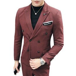 double breast dresses NZ - 1 Piece 2019 New Fashion Boutique Solid Color Mens Double-breasted Blazer Business Groom Wedding Dress Suit Jacket Male