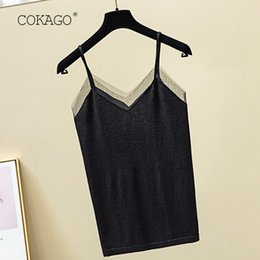 Discount knit underwear - COKAGO 2019 Women's Tank Top Summer V Neck Knitted Sleeveless Mesh Cami Tops Casual Plain Basic Vest Underwear Wome