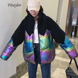lamb stands UK - Fitaylor New Winter Women Bright Side Patchwork Lamb Fur Jacket Overcoat Stand Collar Zipper Loose Cotton Padded Glossy Outwear T191108