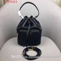 $enCountryForm.capitalKeyWord NZ - New women portable detachable adjustable high-grade leather portable slung shoulder bag Drawstring Draw bucket bag black