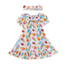 Girls fleece dresses online shopping - Baby Girl Dress Kids Cartoon Printed Dress Short Princess Skirt Short Sleeve Round Collar Two piece Dress Hairband