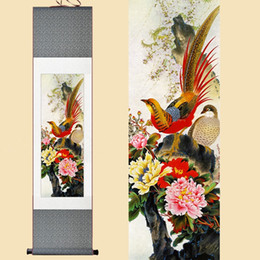 Watercolor Paintings Birds Australia - 30X120CM Chinese Silk Watercolor flower birds Ink Golden Pheasant peony feng shui art wall picture framed scroll canvas painting