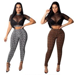 Wholesale sexy white pants outfits resale online – Free Ship Women Sexy See Through Crop Top Pants Two Piece Sets Casual Slim Outfits Tracksuit XXXL