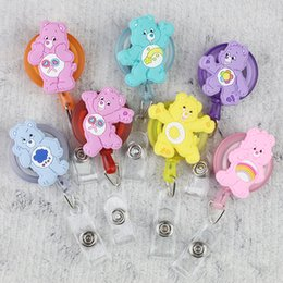 Wholesale Cute Cartoon Bear Retractable Badge Reel Silicone Student Nurse Exhibiton ID Name Card Badge Holder Stationery Supplies