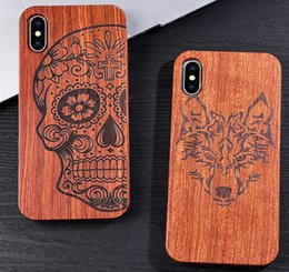 novel cases NZ - Genuine Natural Wood Case For iPhone X 8 7 6 6s Plus 5s 5 SE Cover Novel Embossed Flower Skull Wolf Pattern Wooden Phone Cases